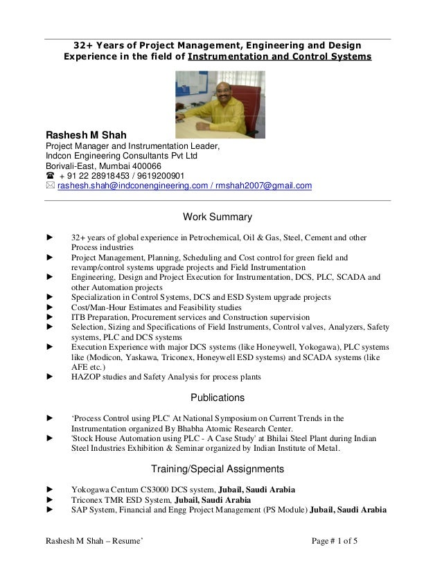 Cv of instrumentation consultant rashesh shah 32 years for Experience design consultant
