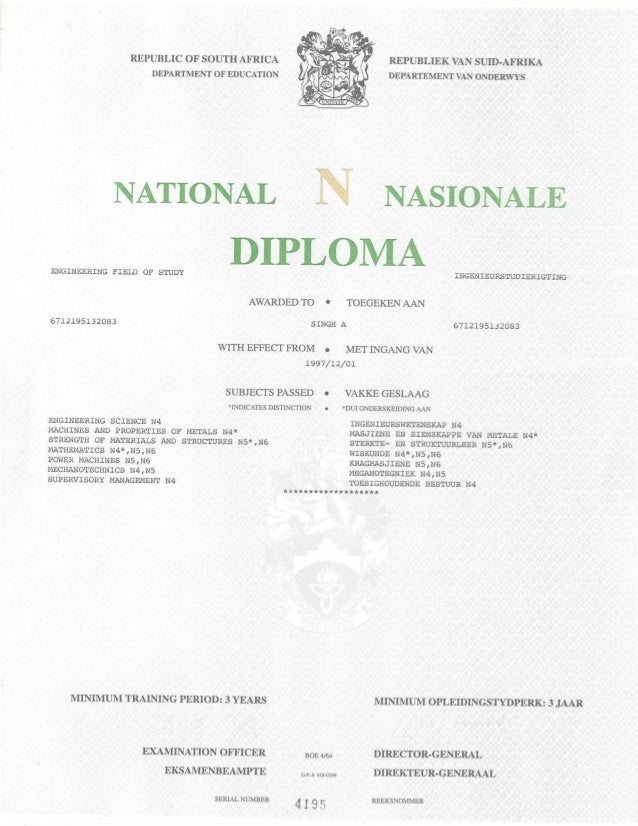 National Diploma in Mech. Engineering