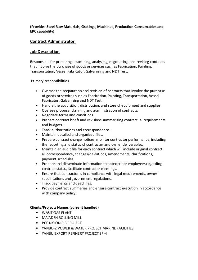contract administrator resume
