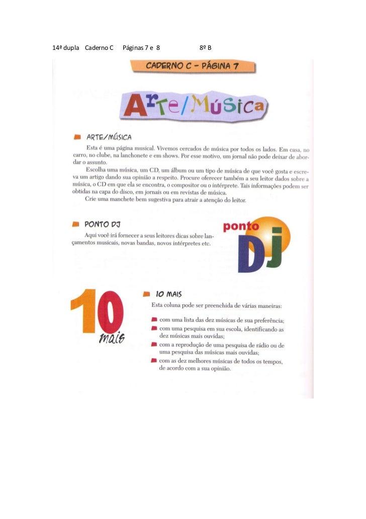 14ª dupla Caderno C   Páginas 7 e 8   8º B