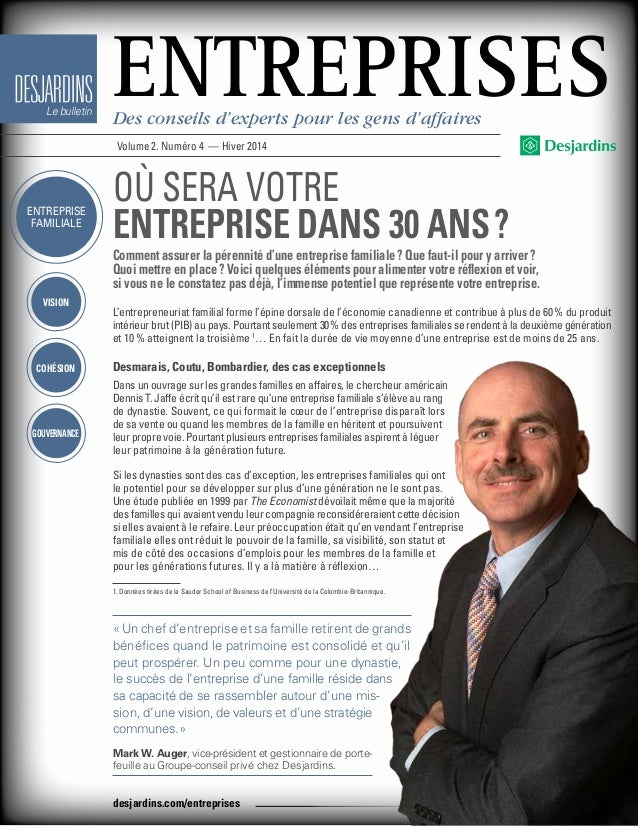 vision Cohésion Gouvernance Le bulletin EntreprisesDes conseils d'experts pour les gens d'affaires Volume 2. Numéro 4 — Hi...