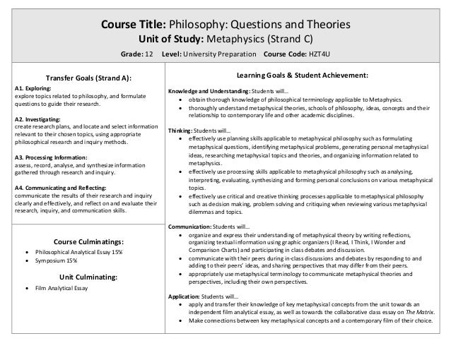 metaphysics  course title philosophy questions and theories unit of study metaphysics strand c
