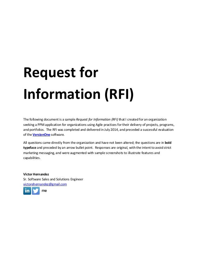 Sample Request for Information (RFI) Document