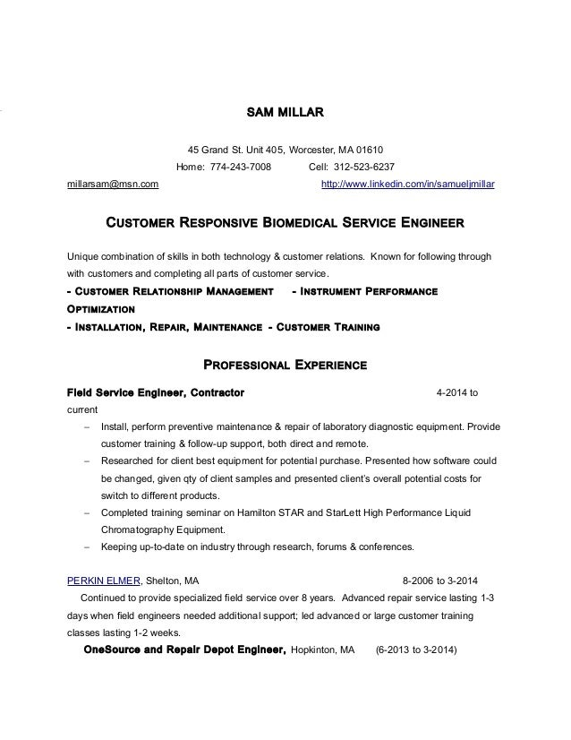 service engineer resume