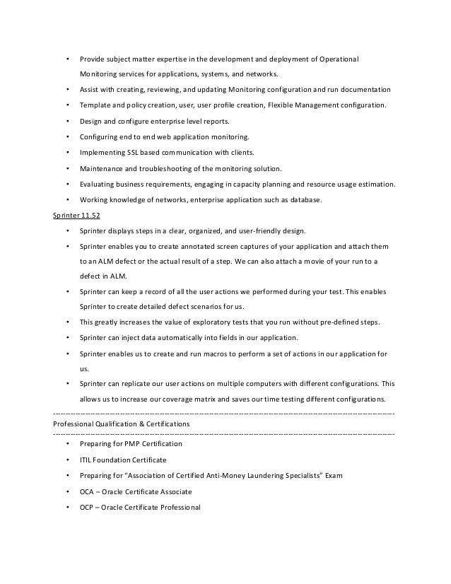 Joseph inbaraj s 11 years alm admin resume for Sitescope templates