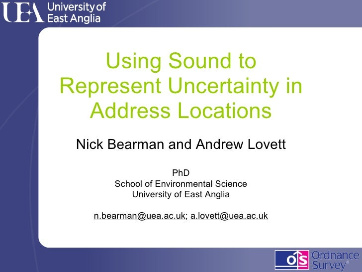 Using Sound to Represent Uncertainty in Address Locations Nick Bearman and Andrew Lovett PhD School of Environmental Scien...