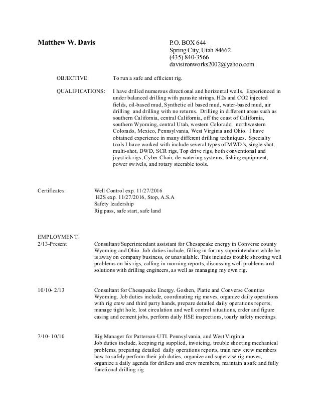 Luxury Chesapeake Energy Resume In Wv Collection - Administrative ...