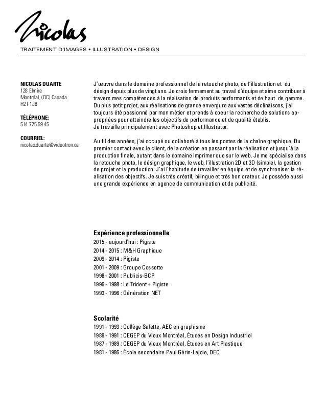 TRAITEMENT D'IMAGES • ILLUSTRATION • DESIGN NICOLAS DUARTE 128 Elmire Montréal, (QC) Canada H2T 1J8 TÉLÉPHONE: 514 725 59 ...