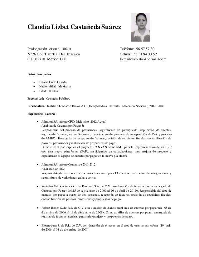 Claudia Lizbet Castañeda Suárez Prolongación oriente 100-A Teléfono: 56 57 57 30 N°26 Col. Tlazintla Del. Iztacalco Celula...