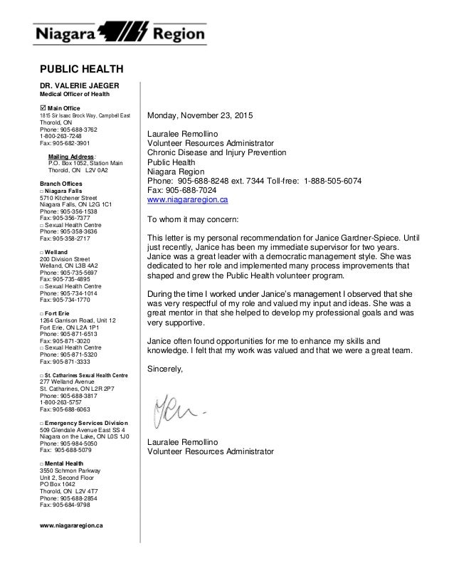Reference letter for janice gardner spiece from a direct report staff public health monday november 23 2015 lauralee remollino volunteer resources administrator chronic disease and expocarfo Choice Image