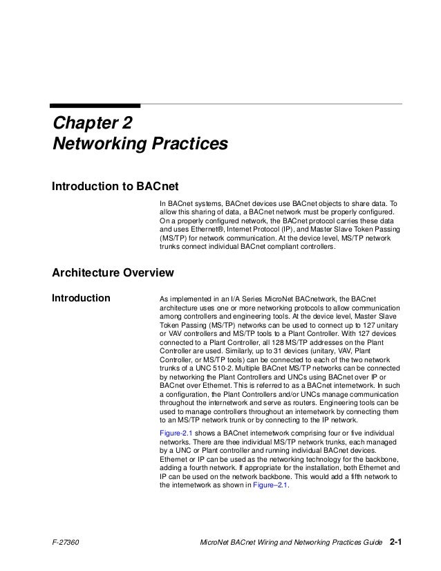 F-27360 MicroNet BACnet Wiring and Networking Practices Guide 2-1 Chapter 2 Networking Practices Introduction to BACnet In...