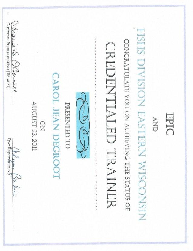EpicCredentialed Trainer CPOE/ClinDoc Certificate