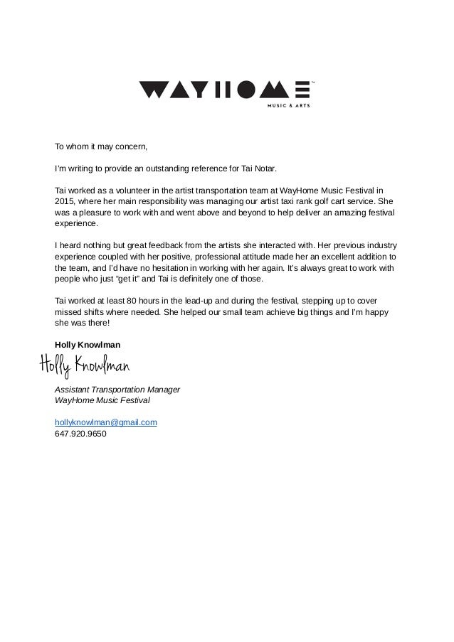 Wayhome Reference Letter Holly