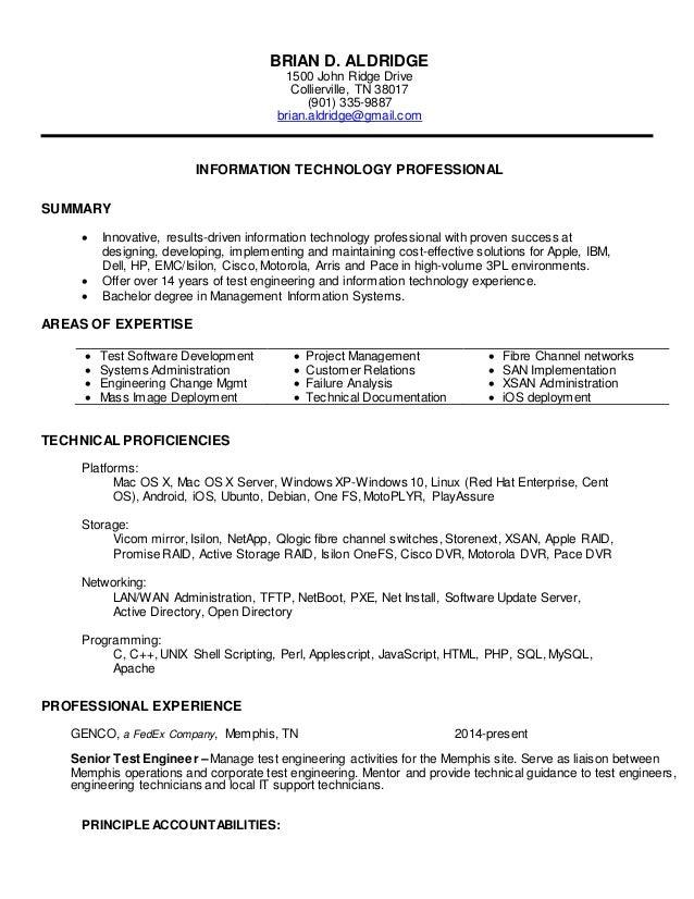 BRIAN D ALDRIDGE Resume 2016