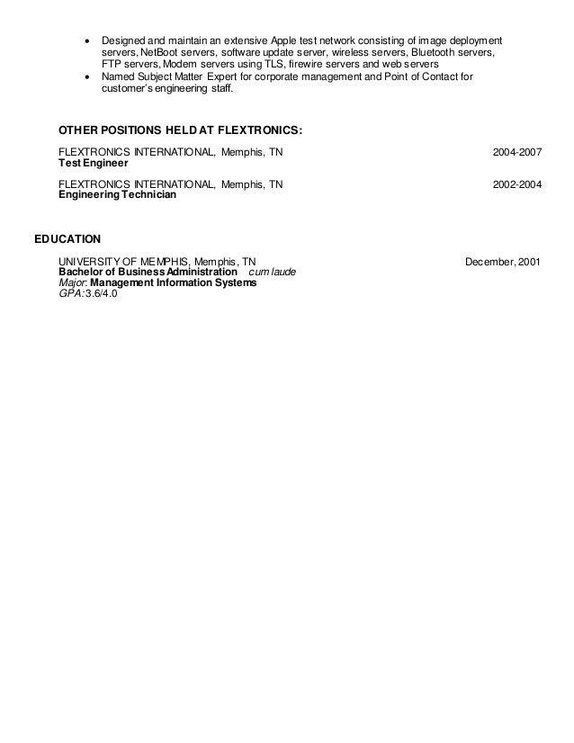 4 - Modem System Test Engineer Sample Resume