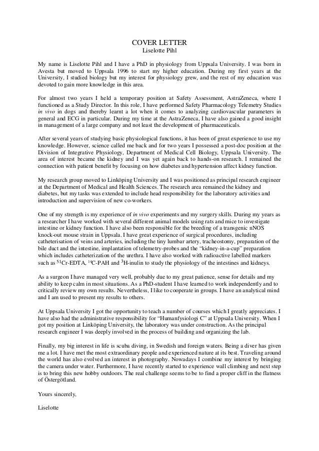 LinkedIn Cover letter Liselotte Pihl