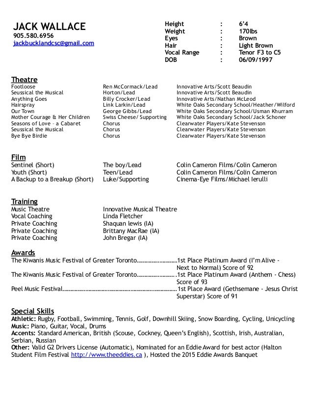Working Papers - The New School actor resume toronto Writing Reports ...