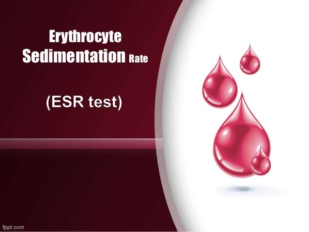 erythrocyte sedimentation rate esr The esr (erythrocyte sedimentation rate) is a simple blood test that estimates the level of inflammation in the body.