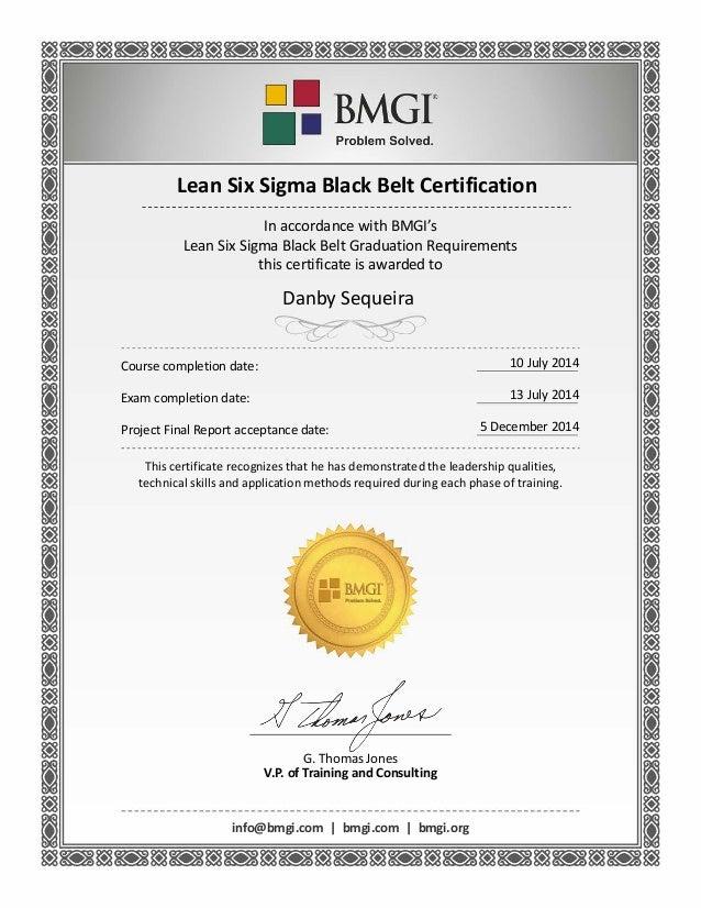 Bmgi Certificate Black Belt Danby Sequeira