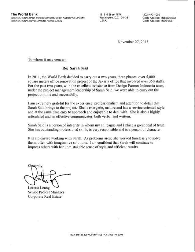 World Bank Reference Letter