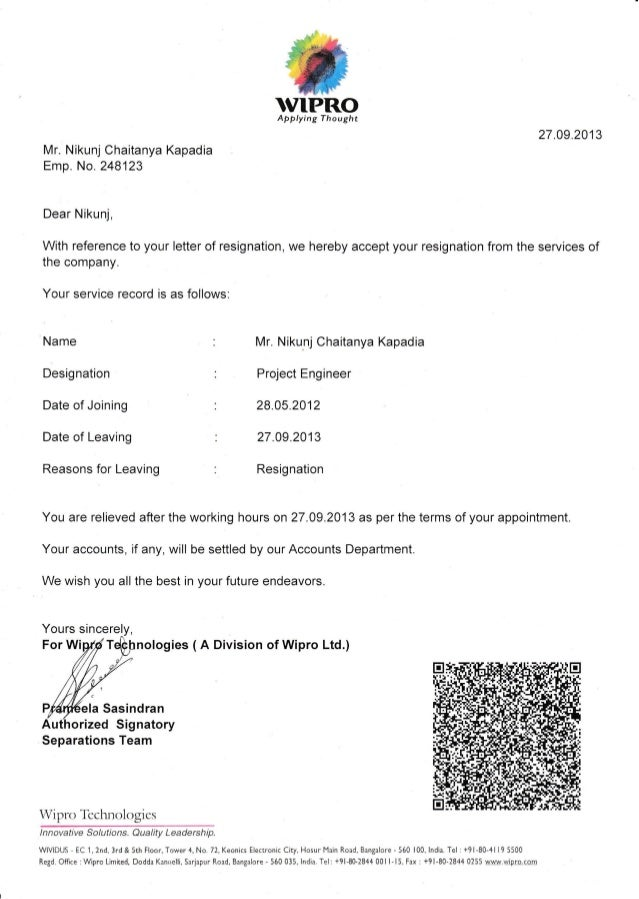 Wipro experience letter spiritdancerdesigns Image collections