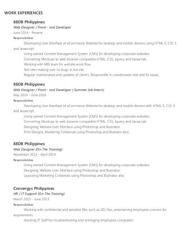 Java Resume Samples Front End Developer Sample Resume