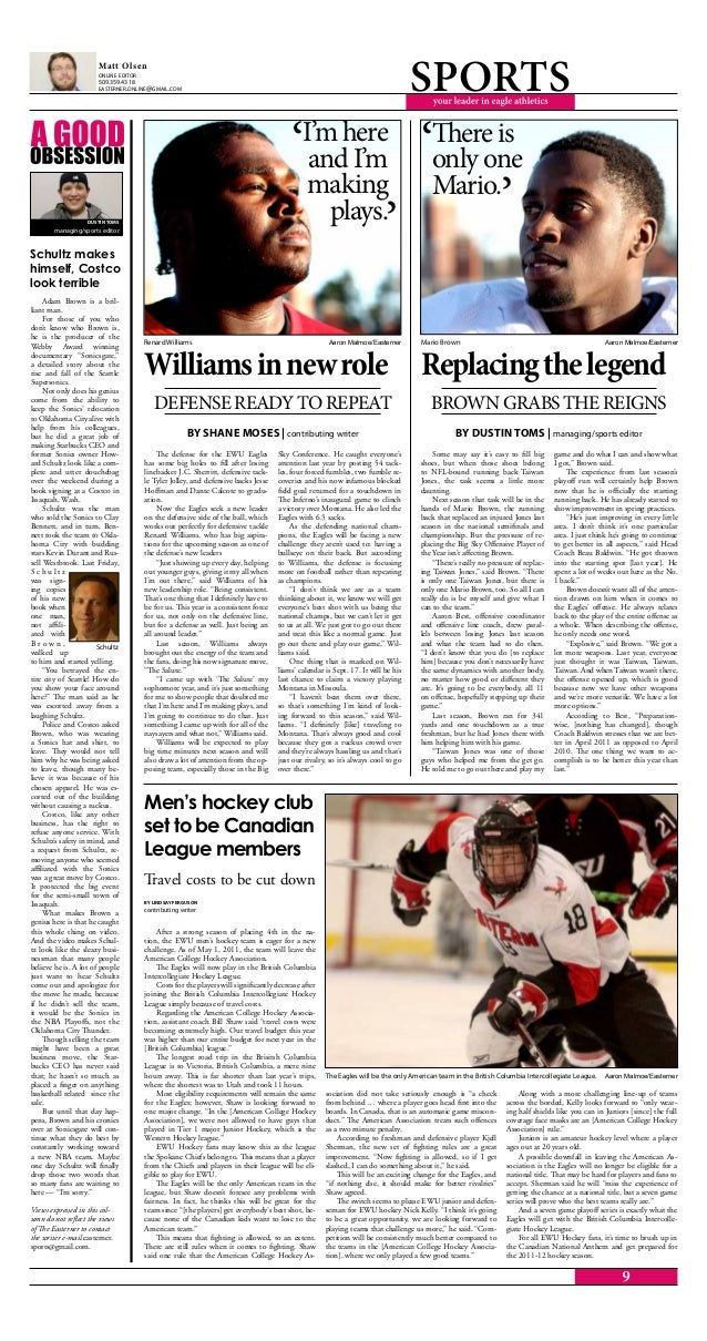 After a strong season of placing 4th in the na- tion, the EWU men's hockey team is eager for a new challenge. As of May 1,...