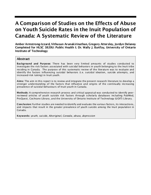Inuit Youth Suicide - Mini-Systematic Review [FINAL]