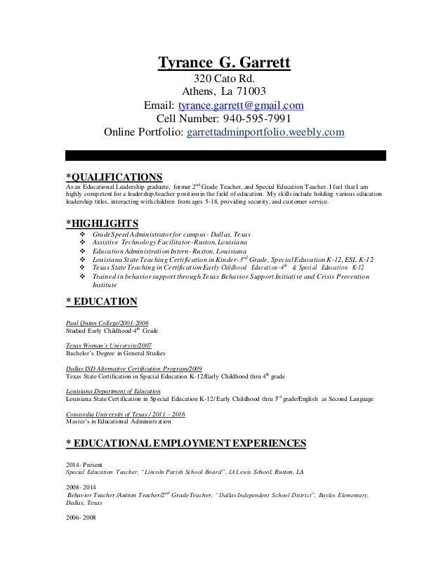 Tyrances Ed Adminteacher Resume