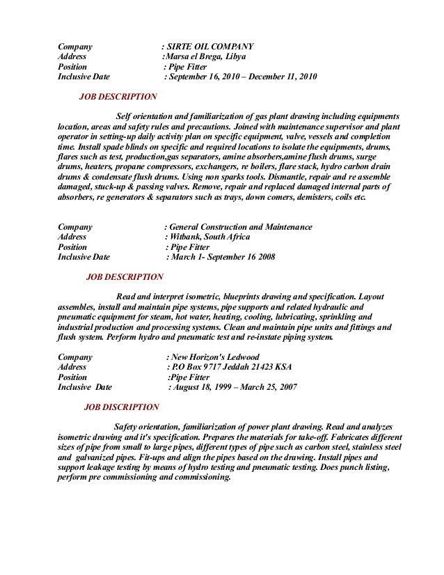 pipe fitter description resume resume pipefitter