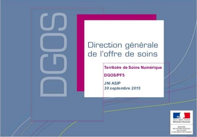 Direction générale de l'offre de soins - DGOS Territoire de Soins Numérique DGOS/PF5 JNI ASIP 30 septembre 2015