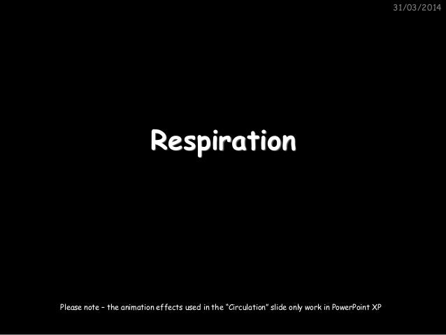 "31/03/2014 Respiration Please note – the animation effects used in the ""Circulation"" slide only work in PowerPoint XP"