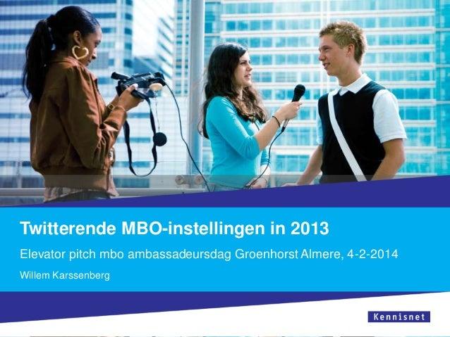 Twitterende MBO-instellingen in 2013 Elevator pitch mbo ambassadeursdag Groenhorst Almere, 4-2-2014 Willem Karssenberg
