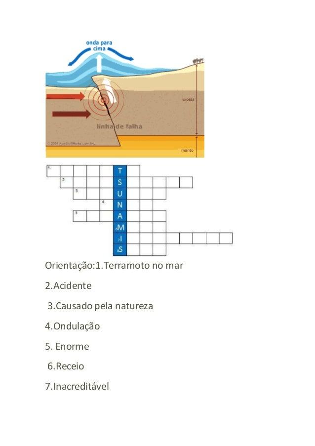 Orientação:1.Terramoto no mar  2.Acidente  3.Causado pela natureza  4.Ondulação  5. Enorme  6.Receio  7.Inacreditável