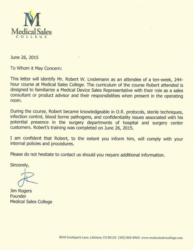 Letter Of Recommendation   Jim Rogers CEO Medical Sales College