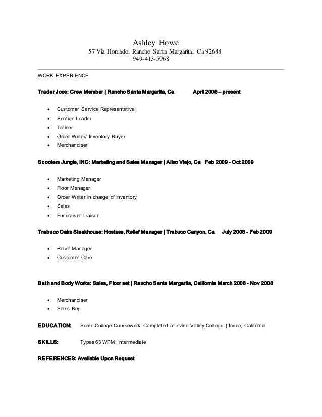 trader joes resume