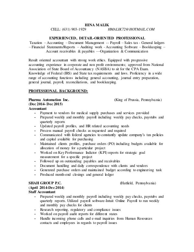 HINA MALIK CELL: (631) 903-1929 HMALIK72@HOTMAIL.COM EXPERIENCED, DETAIL-ORIENTED PROFESSIONAL Taxation – Accounting – Doc...
