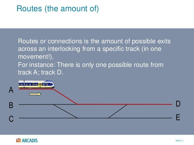 V2010-1 Routes (the amount of) D EC A B Routes or connections is the amount of possible exits across an interlocking from ...