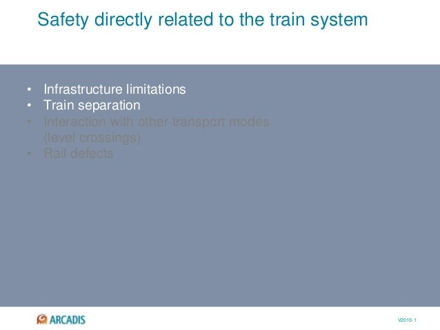V2010-1 Safety directly related to the train system • Infrastructure limitations • Train separation • Interaction with oth...