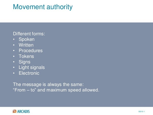 V2010-1 Movement authority Different forms: • Spoken • Written • Procedures • Tokens • Signs • Light signals • Electronic ...