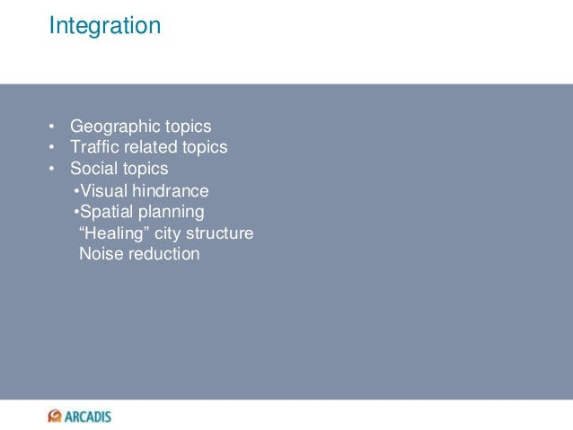 "Integration • Geographic topics • Traffic related topics • Social topics •Visual hindrance •Spatial planning ""Healing"" cit..."