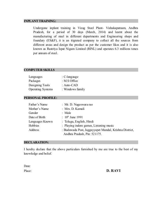 ravi resume b tech mech