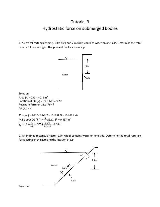 3 Hydrostatic Force Tutorial Solution 1