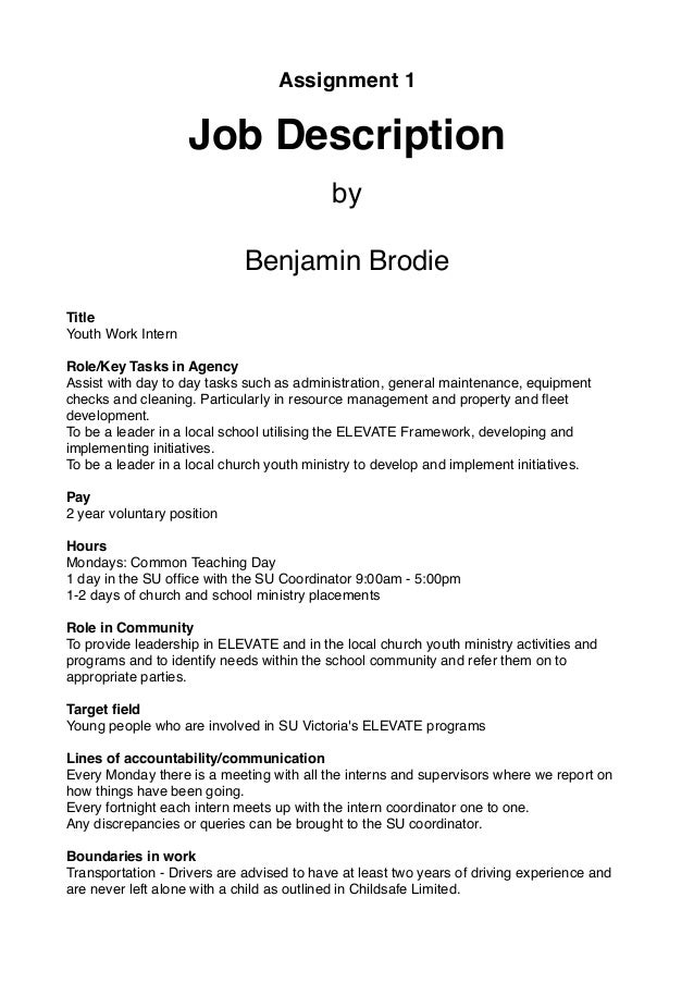 Assignment 1 Job Description By Benjamin Brodie Title Youth Work Intern Role/Key  Tasks In ...