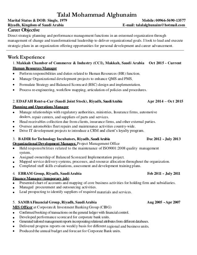 ... Two Page Resume. Talal Mohammad Alghunaim Marital Status U0026 DOB: Single,  1979 Mobile: 00966 5690 ...