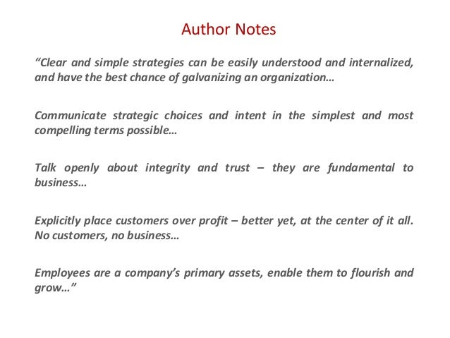 """Author Notes """"Clear and simple strategies can be easily understood and internalized, and have the best chance of galvanizi..."""