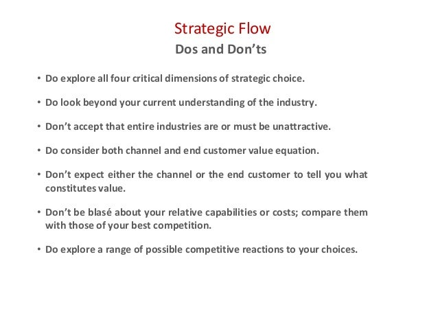 Strategic Flow Dos and Don'ts • Do explore all four critical dimensions of strategic choice. • Do look beyond your current...