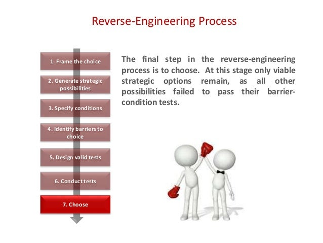 Reverse-Engineering Process The final step in the reverse-engineering process is to choose. At this stage only viable stra...