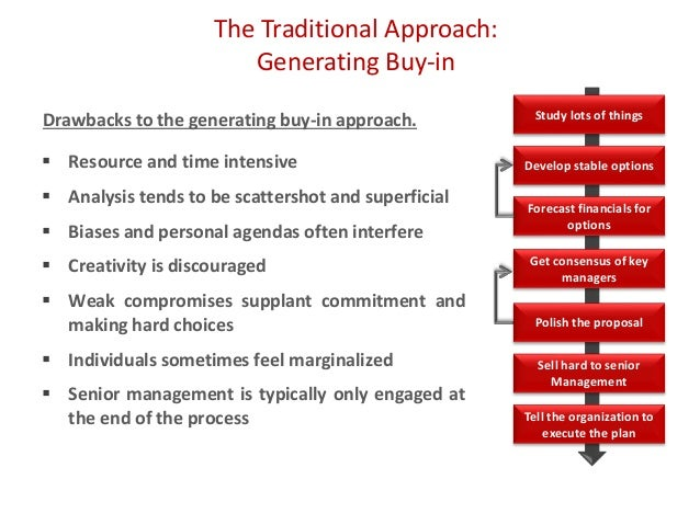 The Traditional Approach: Generating Buy-in  Resource and time intensive  Analysis tends to be scattershot and superfici...