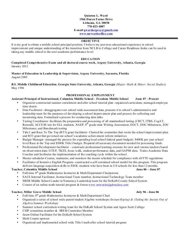 Quinton L. Ward 1566 Duren Farms Drive Lithonia, GA 30058 770-823-4807 E-mail qwardargosy@gmail.com www.mrwardsoffice.com ...